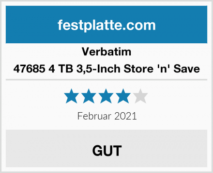 Verbatim 47685 4 TB 3,5-Inch Store 'n' Save Test